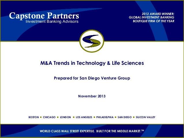 San Diego Venture Group; M&A Event Nov 2013; Capstone