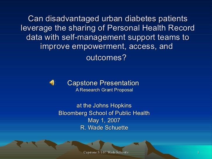 Diabetes, PHRs,at teams - Hopkins Capstone