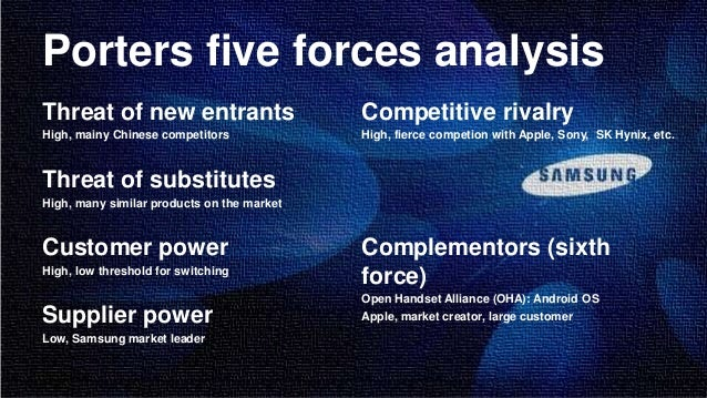 porter five force analysis for samsung Samsung porter 5 force  topics: mobile phone,  porter's five forces – competitor analysis michael porter's five forces is a model used to explore the environment in which a product or company operates to generate competitive advantage.
