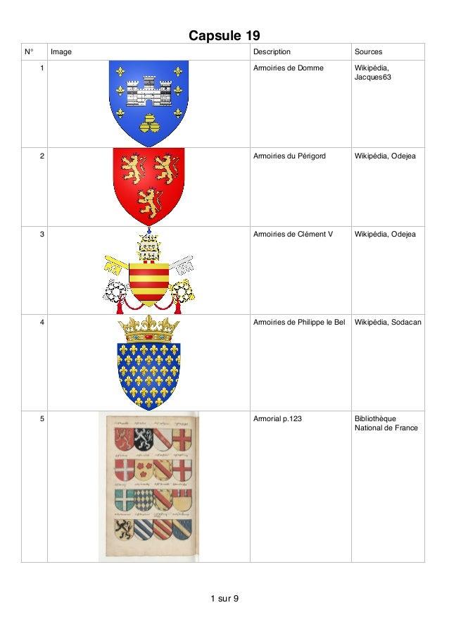 Capsule 19 N° Image Description Sources 1 Armoiries de Domme Wikipédia, Jacques63 2 Armoiries du Périgord Wikipédia, Odeje...