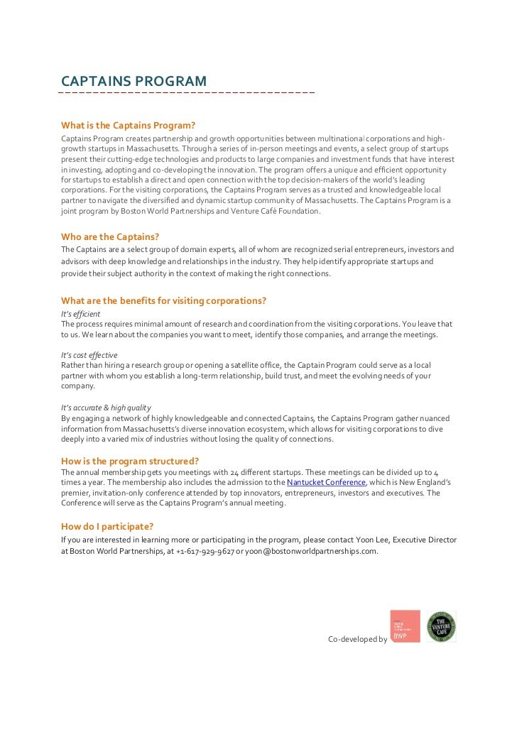 CAPTAINS PROGRAMWhat is the Captains Program?Captains Program creates partnership and growth opportunities between multina...