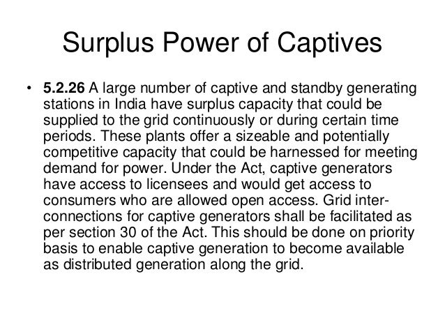 Captive power Policy