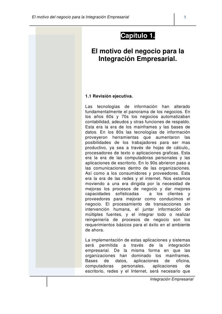 El motivo del negocio para la Integración Empresarial                          1                                          ...