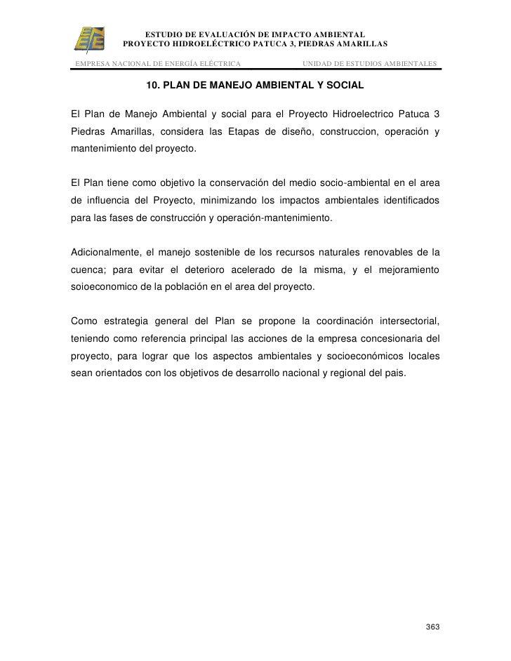 ESTUDIO DE EVALUACIÓN DE IMPACTO AMBIENTAL           PROYECTO HIDROELÉCTRICO PATUCA 3, PIEDRAS AMARILLAS EMPRESA NACIONAL ...