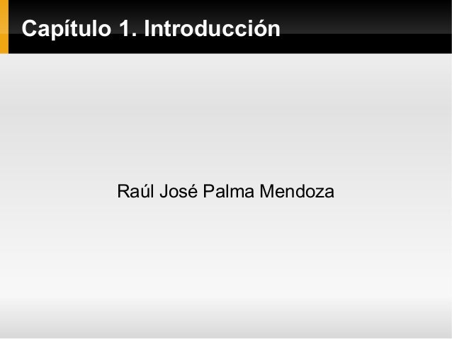 Capítulo 1. Introducción Raúl José Palma Mendoza