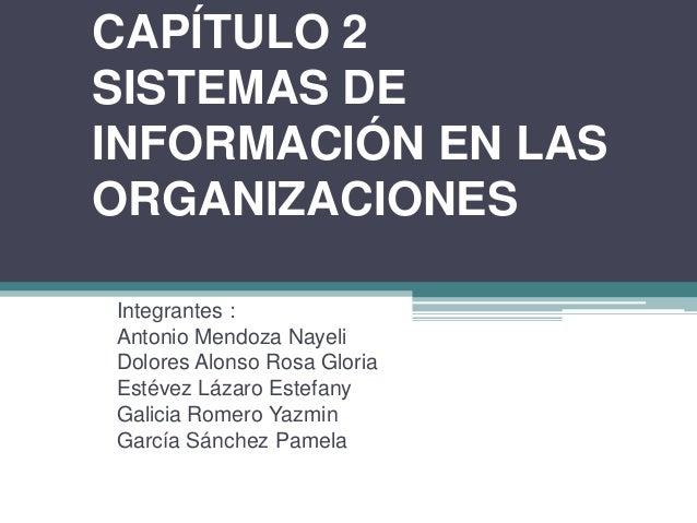 CAPÍTULO 2 SISTEMAS DE INFORMACIÓN EN LAS ORGANIZACIONES Integrantes : Antonio Mendoza Nayeli Dolores Alonso Rosa Gloria E...