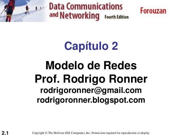 2.1 Capítulo 2 Modelo de Redes Prof. Rodrigo Ronner rodrigoronner@gmail.com rodrigoronner.blogspot.com Copyright © The McG...