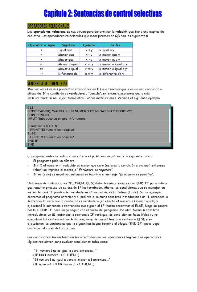 Capítulo 2 qbasic sentencias de control selectivas