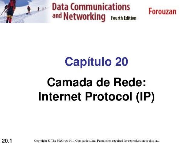 20.1 Capítulo 20 Camada de Rede: Internet Protocol (IP) Copyright © The McGraw-Hill Companies, Inc. Permission required fo...