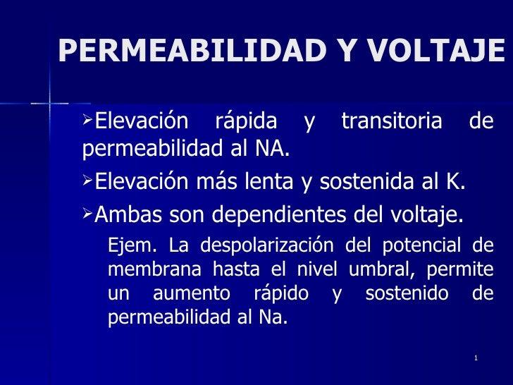 PERMEABILIDAD Y VOLTAJE <ul><li>Elevación rápida y transitoria de permeabilidad al NA. </li></ul><ul><li>Elevación más len...