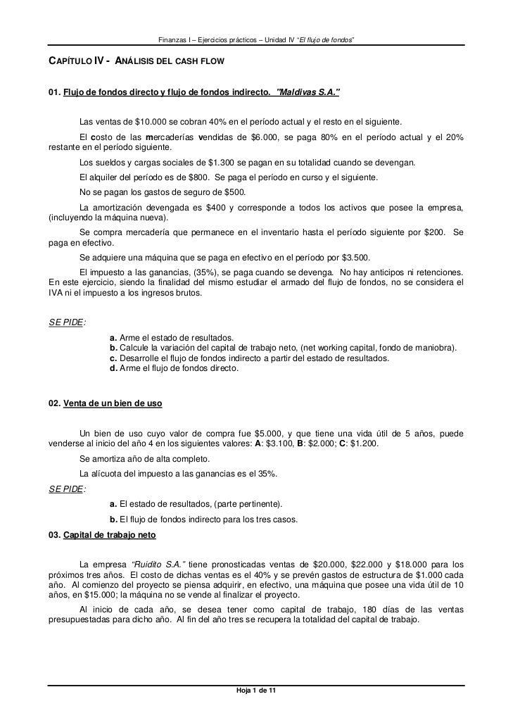 """Finanzas I – Ejercicios prácticos – Unidad IV """"El flujo de fondos""""CAPÍTULO IV - ANÁLISIS DEL CASH FLOW01. Flujo de fondos ..."""