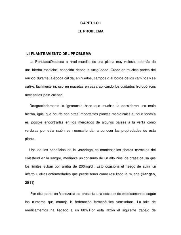 CAPÍTULO I EL PROBLEMA 1.1 PLANTEAMIENTO DEL PROBLEMA La PortulacaOleracea a nivel mundial es una planta muy valiosa, adem...