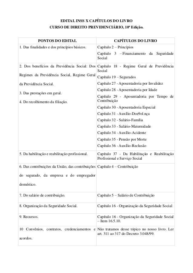 Capítulos curso de direito previdenciário