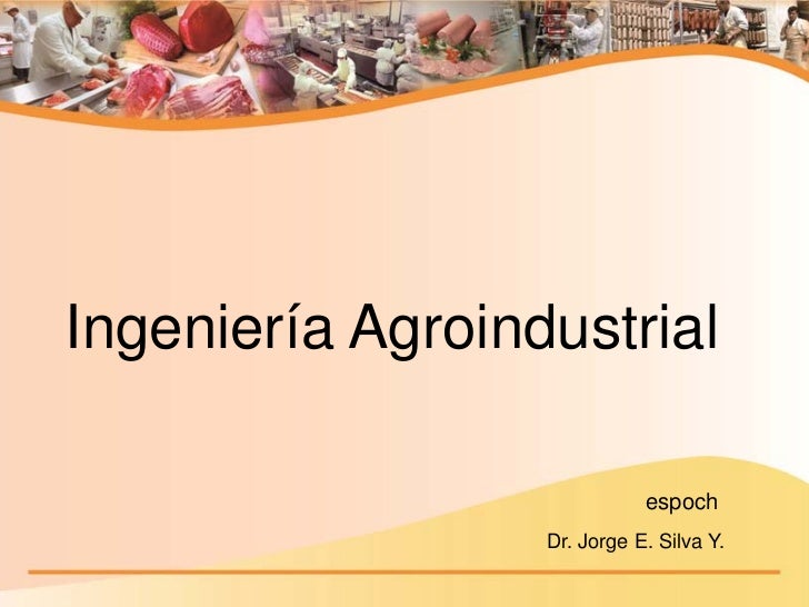 Ingeniería Agroindustrial                             espoch                  Dr. Jorge E. Silva Y.