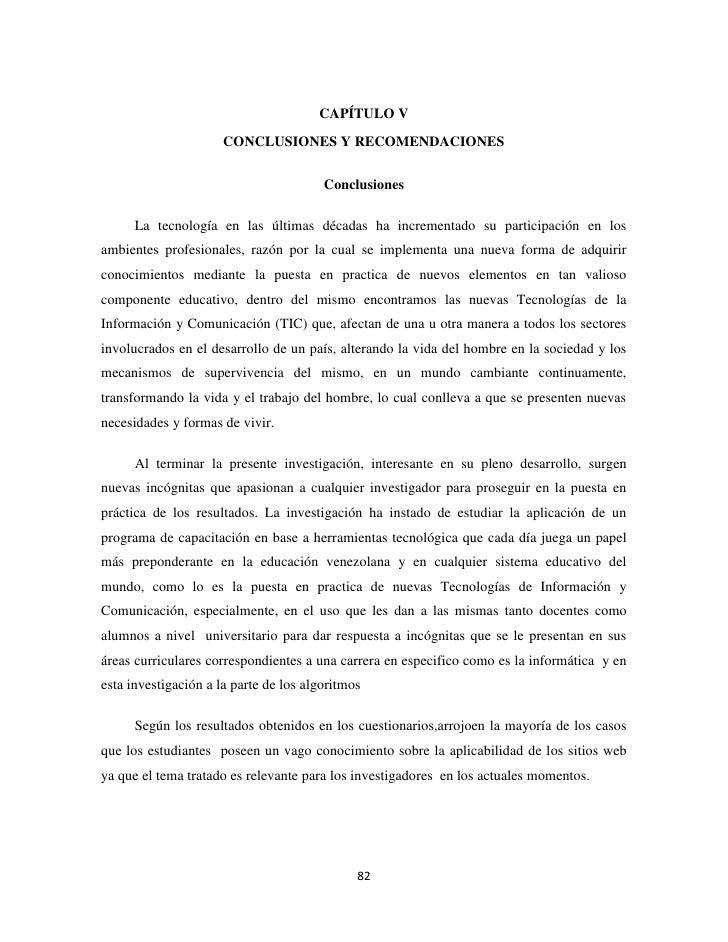 CAPÍTULO V                      CONCLUSIONES Y RECOMENDACIONES                                        Conclusiones      La...