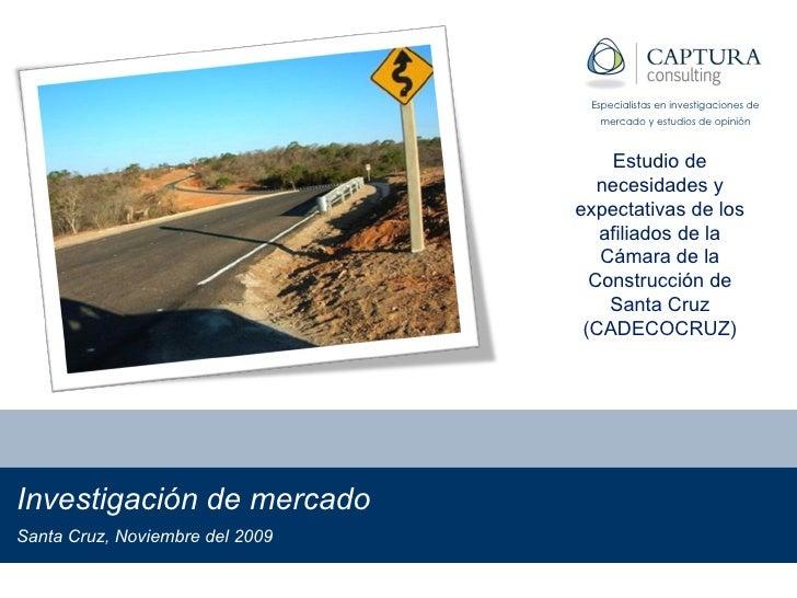 Investigación de mercado Bolivia, Noviembre del 2009 Especialistas en investigaciones de mercado y estudios de opinión Est...