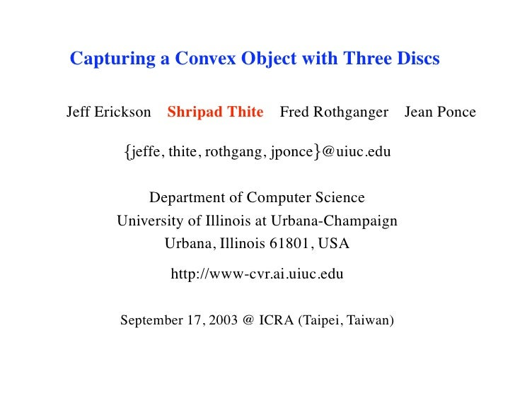Capturing a Convex Object with Three Discs