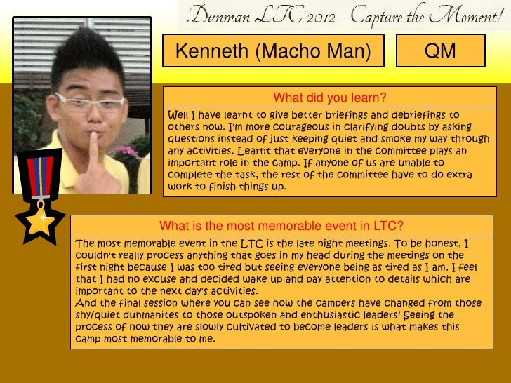 Kenneth (Macho Man)                                 QM                                         What did you learn?        ...