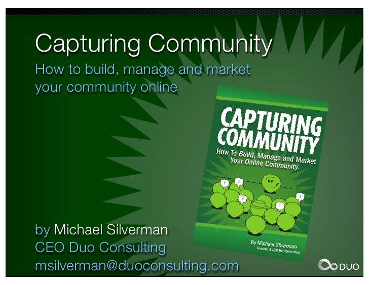 Capturing CommunityHow to build, manage and market                      Marketing/                                Sales   ...