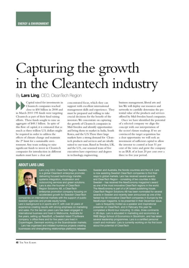 Capturing The Growth in the Clean Tech Industry