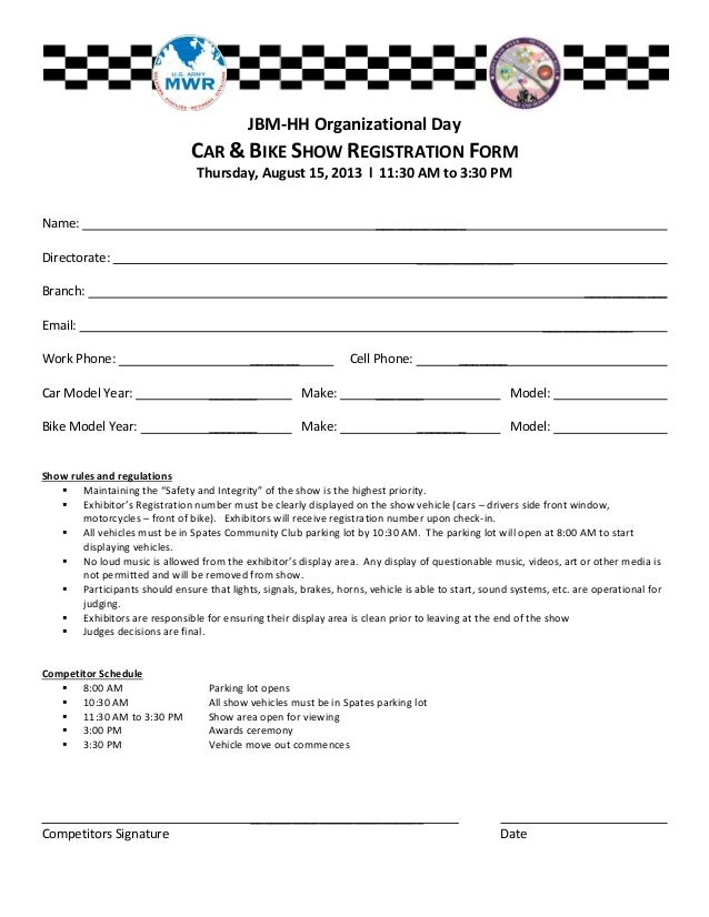 Fashion Show Registration Form Template