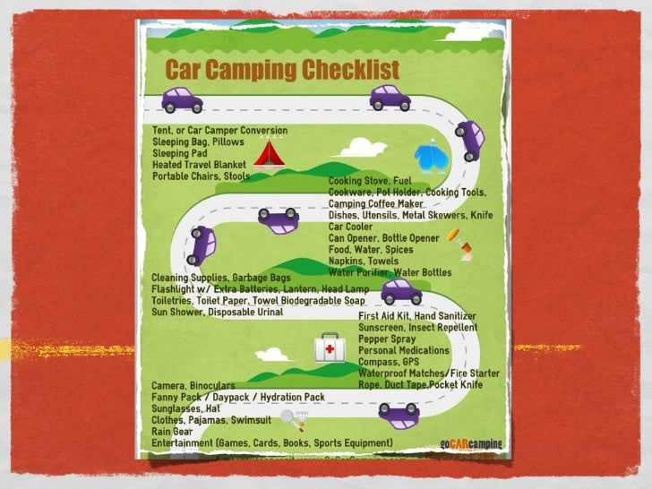 CAR CAMPING CHECKLISTthe stuff you need to bring - without breaking your car,                      or the bank