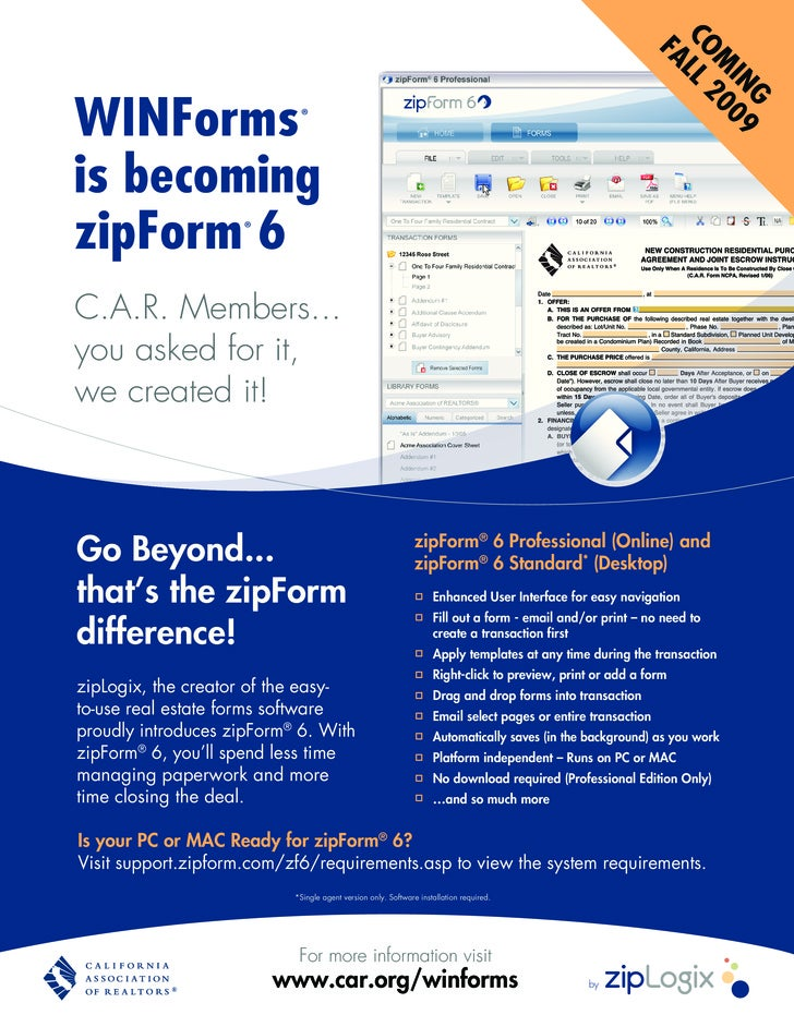 zipForm 6 now offered to members of California Association of REALTORS