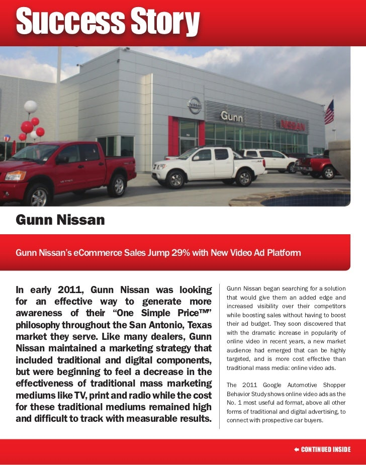 Success StoryGunn NissanGunn Nissan's eCommerce Sales Jump 29% with New Video Ad PlatformIn early 2011, Gunn Nissan was lo...
