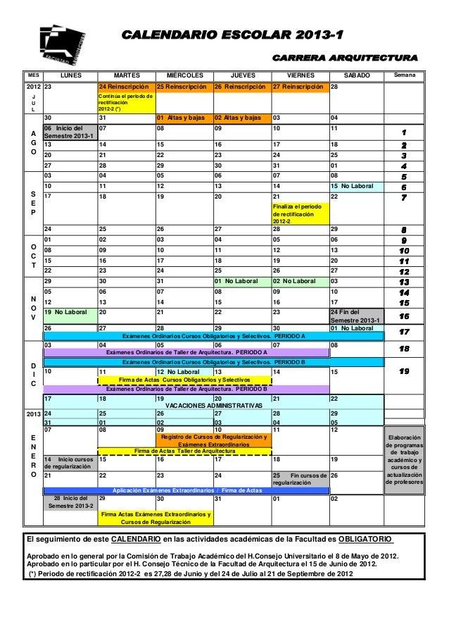 Calendario facultad de arquitectura unam 2014 1 for Servicios escolares arquitectura