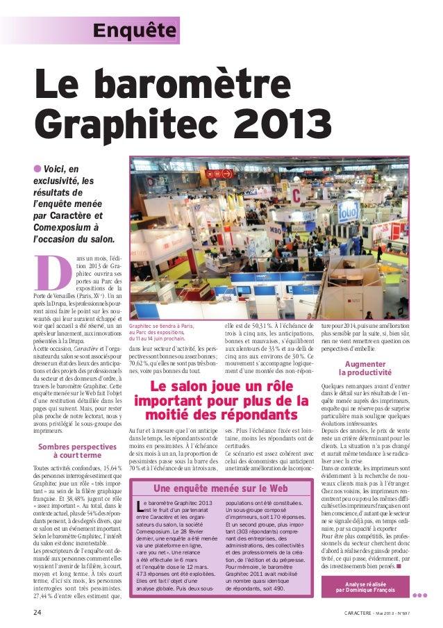 Enquête  Le baromètre Graphitec 2013 l Voici, en exclusivité, les résultats de l'enquête menée par Caractère et Comexposiu...