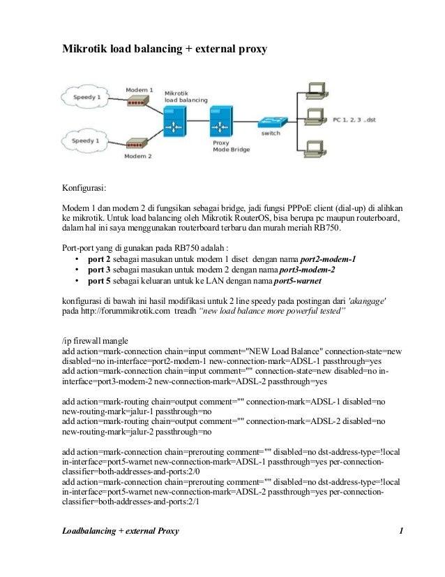 Mikrotik load balancing + external proxy Konfigurasi: Modem 1 dan modem 2 di fungsikan sebagai bridge, jadi fungsi PPPoE c...