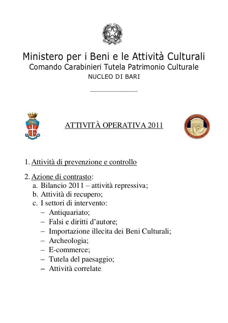 Carabinieri attivita operativa provincia di bari 2011