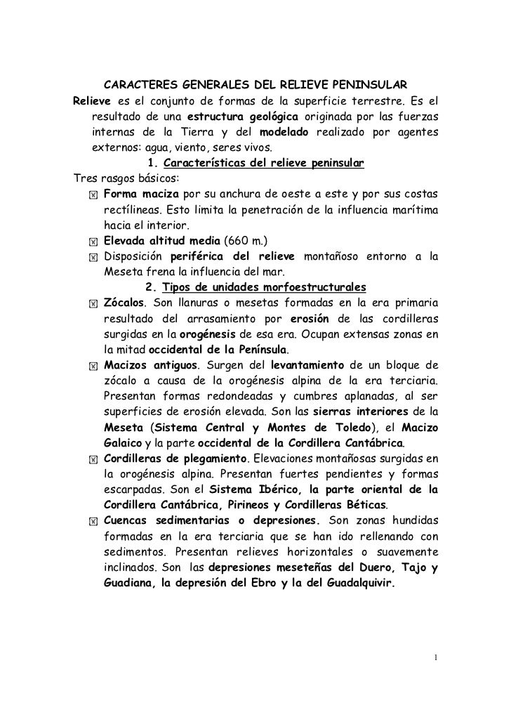 Carácteres generales relieve peninsular