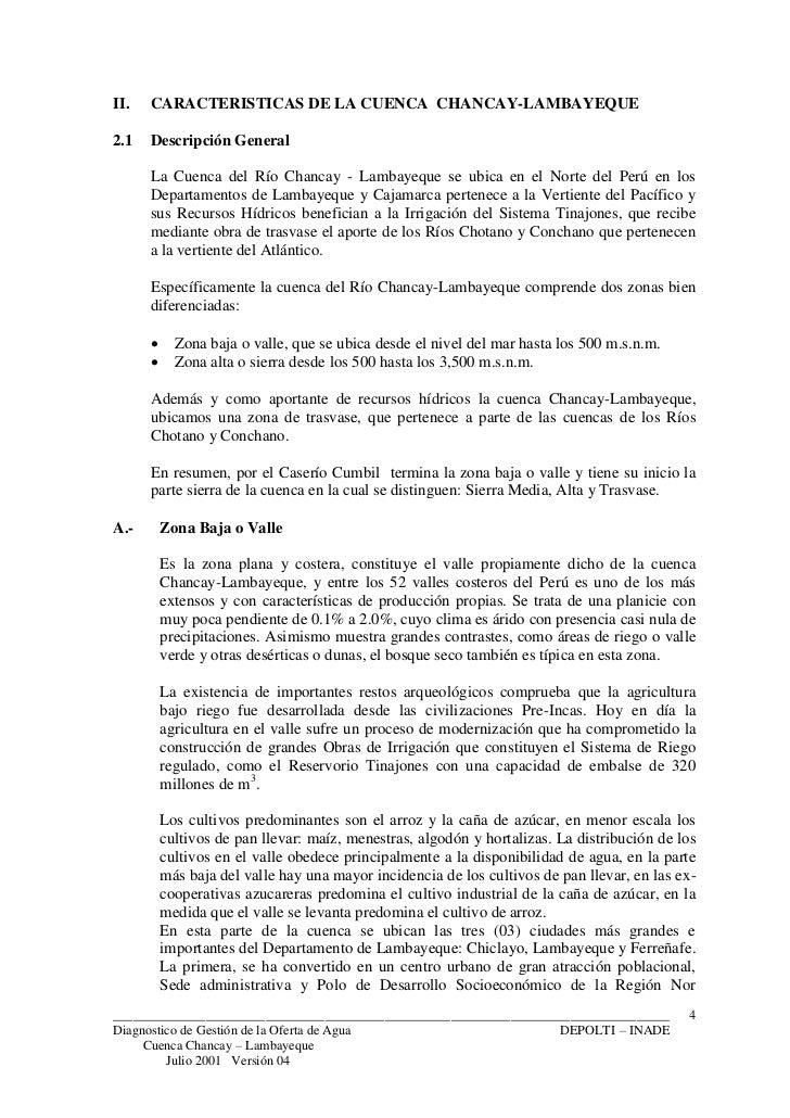 II.   CARACTERISTICAS DE LA CUENCA CHANCAY-LAMBAYEQUE2.1   Descripción General      La Cuenca del Río Chancay - Lambayeque...