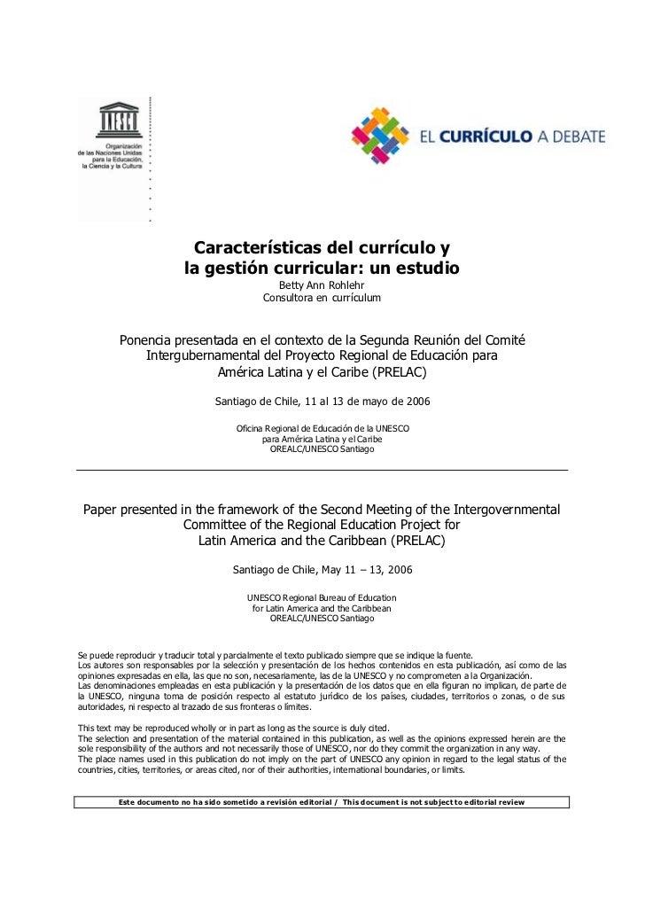Caracteristica del curriculo y la gestion escolar. un estudio
