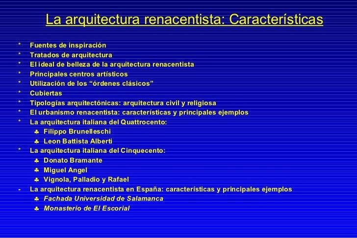 Caracteristicas arq renacimiento for Caracteristicas de la arquitectura