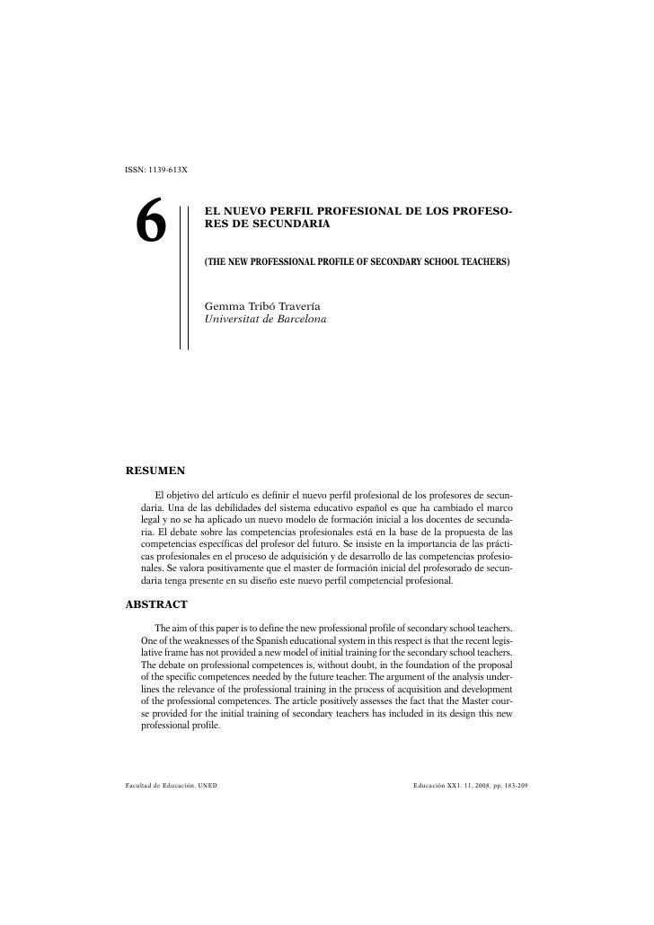 ISSN: 1139-613X  6                    EL NUEVO PERFIL PROFESIONAL DE LOS PROFESO-                       RES DE SECUNDARIA ...