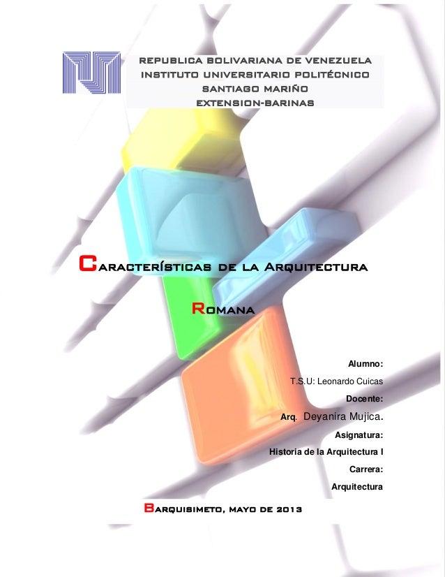 Caracteristicas de la arquitectura romana