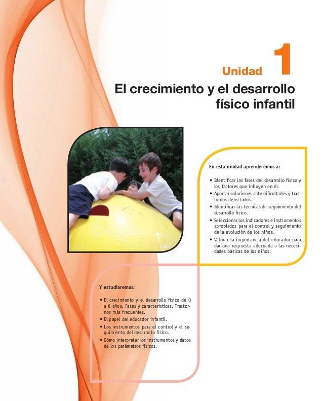 Unidad •El crecimiento y el desarrollo físico de 0 a 6 años. Fases y características. Trastor- nos más frecuentes. •El ...