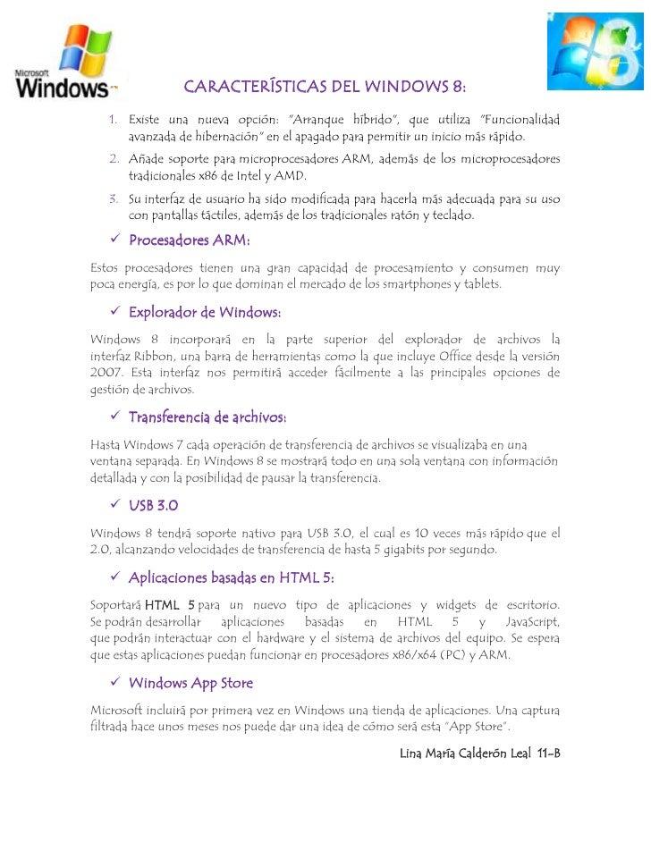 """CARACTERÍSTICAS DEL WINDOWS 8:   1. Existe una nueva opción: """"Arranque híbrido"""", que utiliza """"Funcionalidad      avanzada ..."""