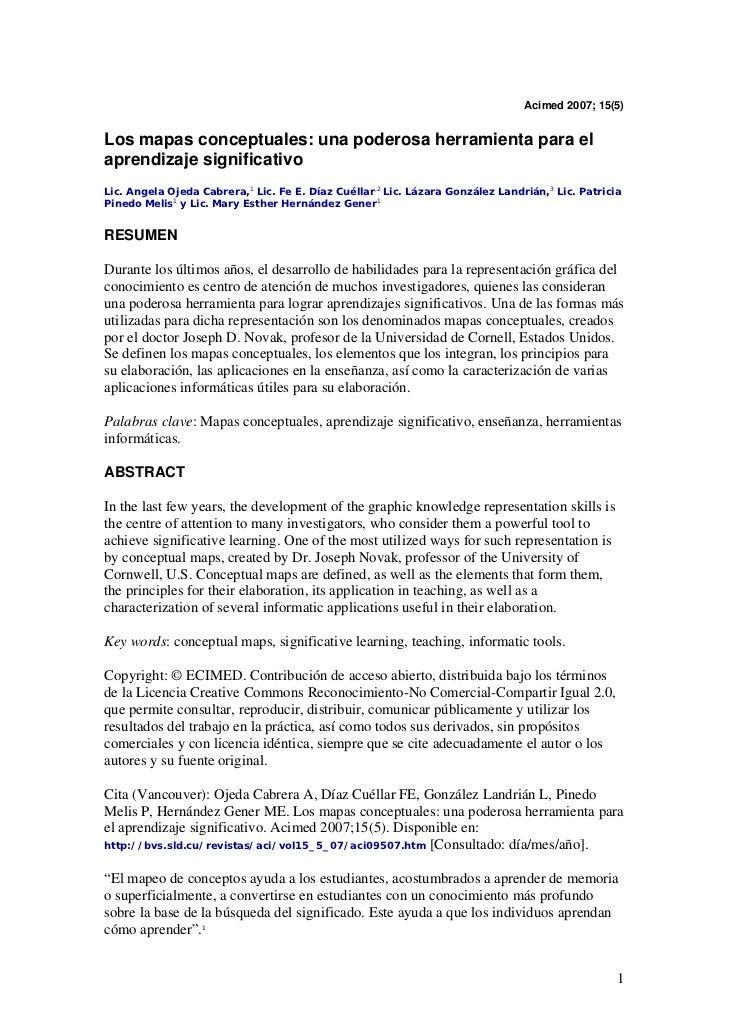 Acimed 2007; 15(5)Los mapas conceptuales: una poderosa herramienta para elaprendizaje significativoLic. Angela Ojeda Cabre...