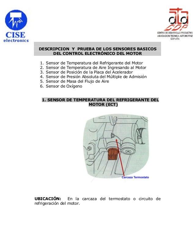 DESCRIPCION Y PRUEBA DE LOS SENSORES BASICOS DEL CONTROL ELECTRÓNICO DEL MOTOR 1. 2. 3. 4. 5. 6.  Sensor Sensor Sensor Sen...