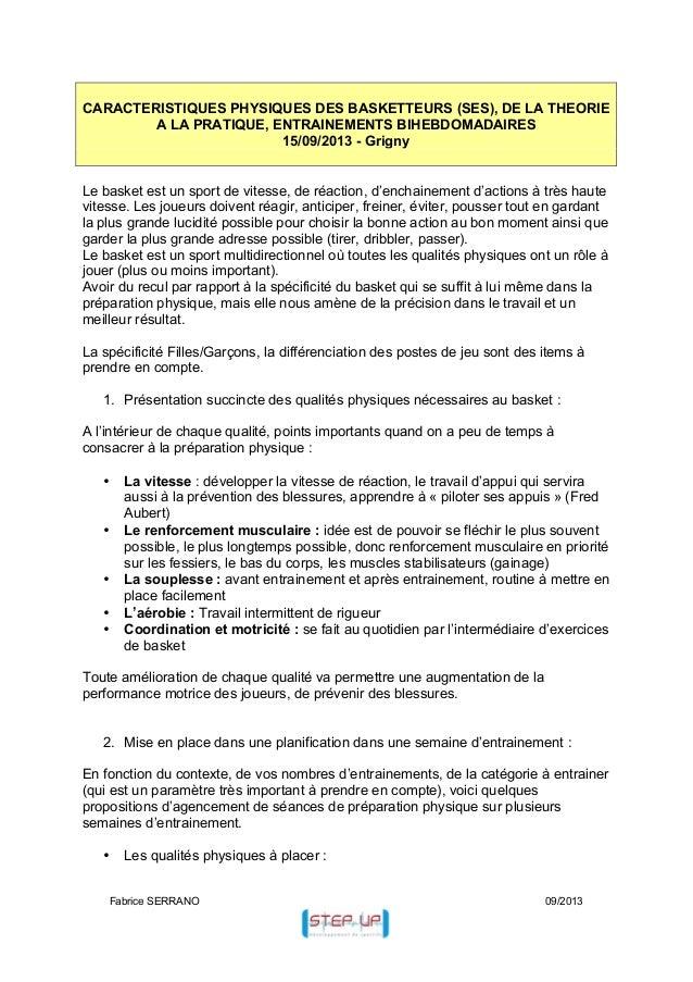 CARACTERISTIQUES PHYSIQUES DES BASKETTEURS (SES), DE LA THEORIE A LA PRATIQUE, ENTRAINEMENTS BIHEBDOMADAIRES 15/09/2013 - ...