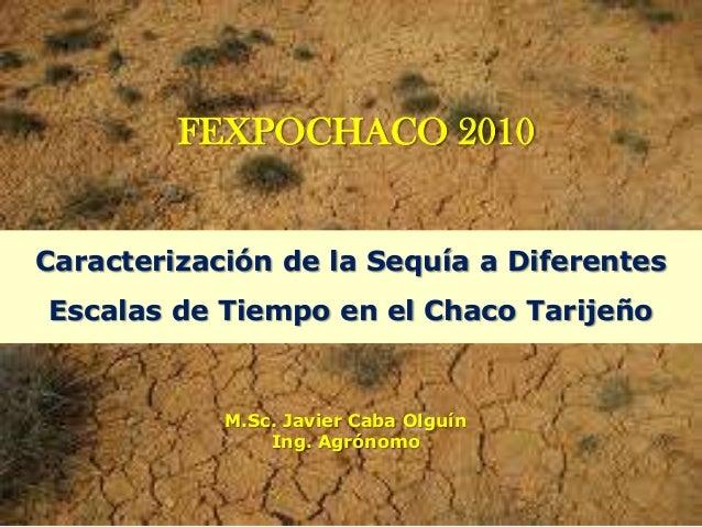FEXPOCHACO 2010 Caracterización de la Sequía a Diferentes Escalas de Tiempo en el Chaco Tarijeño  M.Sc. Javier Caba Olguín...