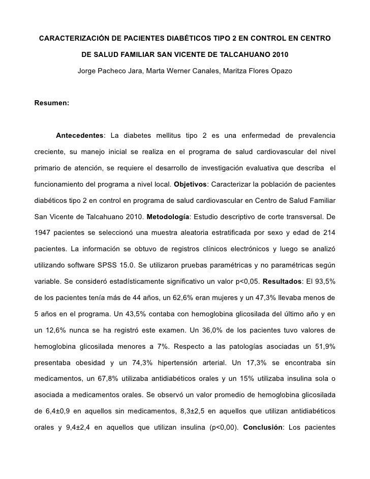 CARACTERIZACIÓN DE PACIENTES DIABÉTICOS TIPO 2 EN CONTROL EN CENTRO              DE SALUD FAMILIAR SAN VICENTE DE TALCAHUA...