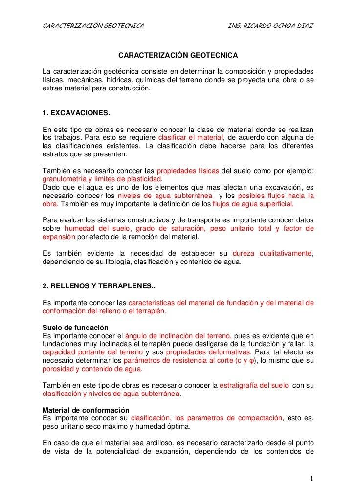 CARACTERIZACIÓN GEOTECNICA                                ING. RICARDO OCHOA DIAZ                       CARACTERIZACIÓN GE...