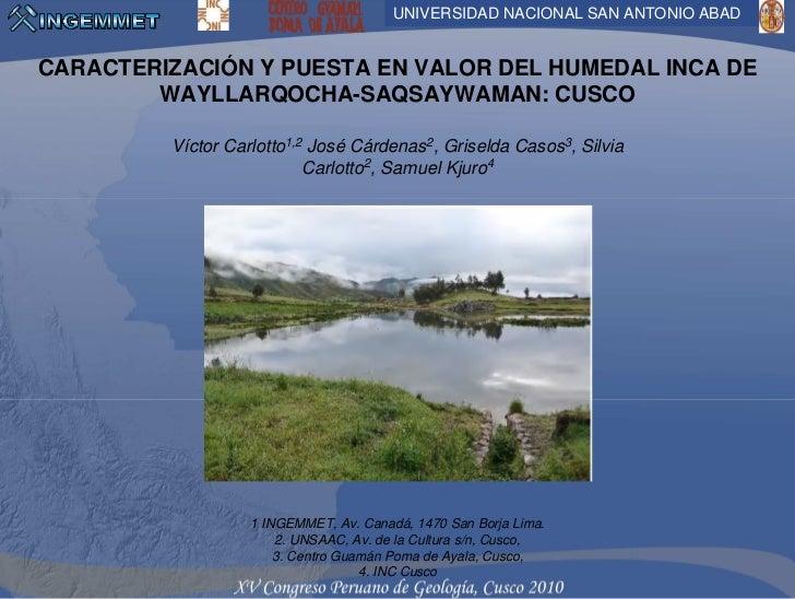 CARACTERIZACIÓN Y PUESTA EN VALOR EL HUMEDAL INCA DE WAYLLARQOCHA-SAQSAYWAMAN: CUSCO