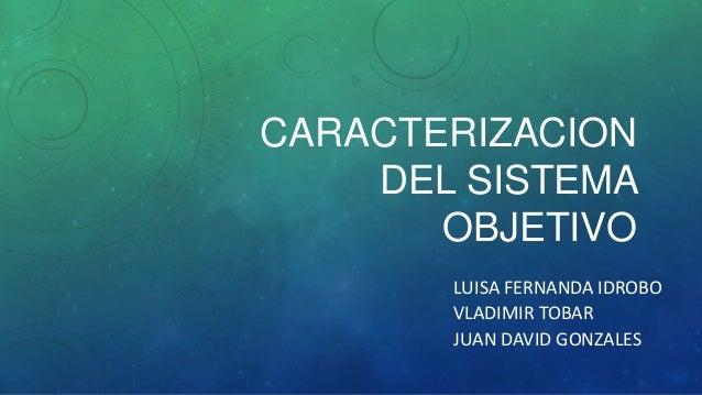CARACTERIZACION DEL SISTEMA OBJETIVO LUISA FERNANDA IDROBO VLADIMIR TOBAR JUAN DAVID GONZALES