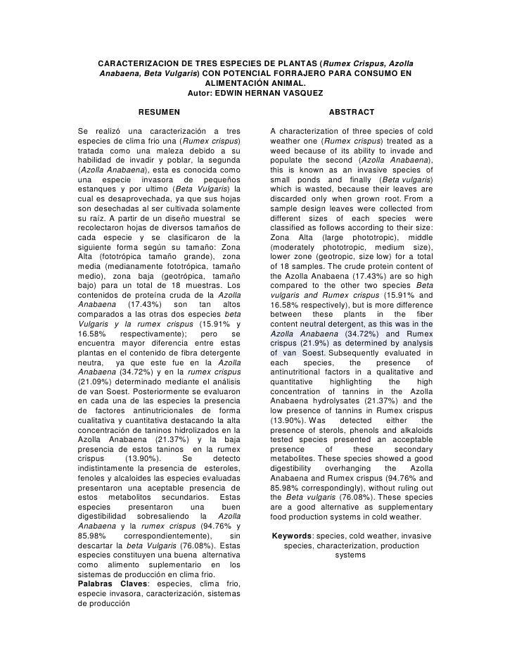 CARACTERIZACION DE TRES ESPECIES DE PLANTAS (Rumex Crispus, Azolla     Anabaena, Beta Vulgaris) CON POTENCIAL FORRAJERO PA...