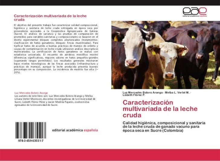 Caracterizacion multivariada de la leche cruda